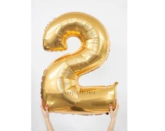 """40"""" Metallic Gold Number Balloon, 40 Inch Gold Balloon, Giant Gold Number Balloon, Giant 2 Balloon, Number Two Balloon, 40"""" Two Balloon"""