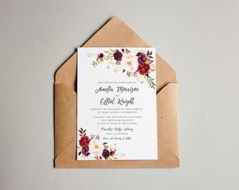 Wedding Invitation Suite Template - Marsala Wedding Suite - Marsala Wedding Invitation - Fall Wedding Suite - Winter Wedding Invitation Set