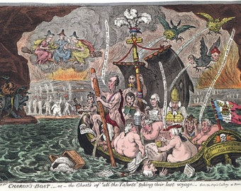 James Gillray: Charon's Boat, or, The Ghosts of all the Talents Taking Their Last Voyage. Fine Art Print/Poster. (4922)