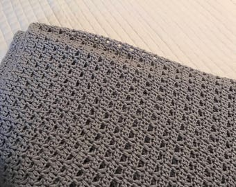 Gray Crochet Baby or Throw Blanket