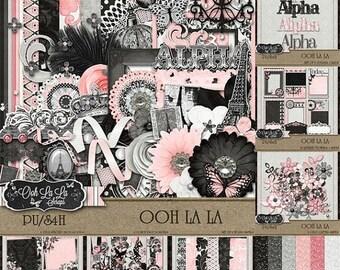 On Sale 50% Ooh La La Collection Digital Scrapbook Kit - Digital Scrapbooking