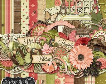 On Sale 50% Off Lovely Day Digital Scrapbook Kit - Digital Scrapbooking
