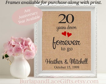 20th Anniversary gift to wife  Gift for Wife gift to husband framed gift anniversary cotton linen burlap gift to sister gift to daugher(208)