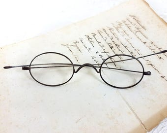 Antique metal wired reading glasses oval eye sunglasses French Vintage frame teashades collectible spectacles theatre, costume P9