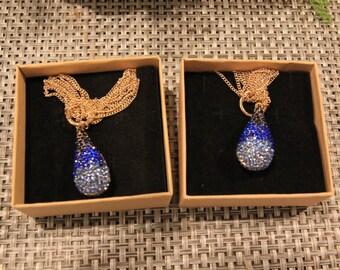 Swarovski necklace, crystal pendant necklace blue, crystal necklace, teardrop pendant necklace gold plated