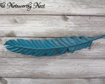 ANY COLOR Large Feather Wall Decor // Feather Wall Art / Silver Feather / Feather Wall Hanging / Galvanized Look // Rustic Feather Decor //
