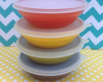 NOS Tupperware bowls with lids, new and unused, harvest colors, cereal bowls, orange green yellow brown
