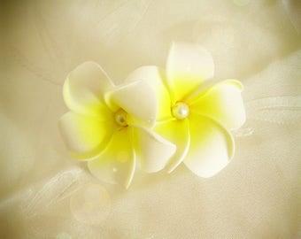 White hair barrette clip double plumeria flower