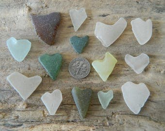 Genuine beach found sea glass pieces with heart shapes
