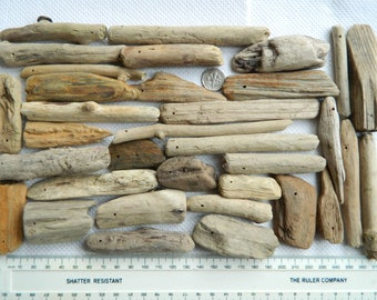 34 Top drilled driftwood pieces, 2mm holes for craft making