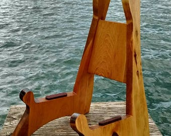 Wooden Acoustic Guitar Stand with a Golden Oak Stain