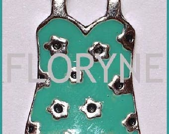 Charm: Dress silver metal enameled Turquoise