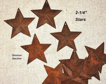 "24 Rusty Dimensional 2D Barn Stars w/ Hole .. 2-1/4"" .. Primitive Crafts"