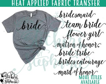 IRON ON v97-I Isabella Lowercase HEARTS Wedding Bridal Party Heart Heat Applied T-Shirt Fabric Transfer Decal