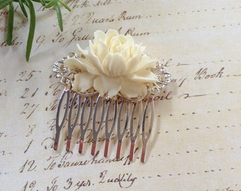 Comb Ivory Floral Silvertone Hair Comb