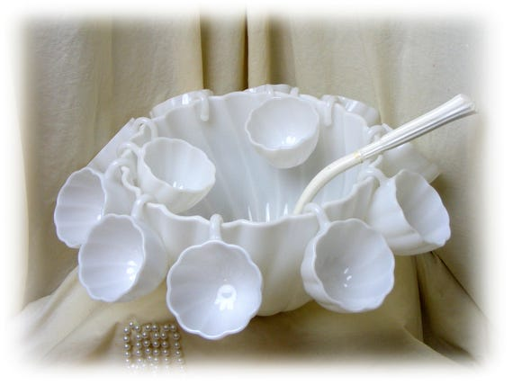 Beautiful Milk Glass PUNCH BOWL SET with 12 cups & ladle
