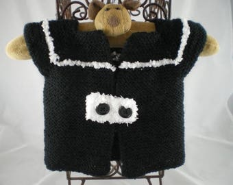 Haut004 - Cardigan / jacket black and white sleeves short