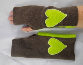 Mitaines010 - Bicolor green and Brown fleece mittens