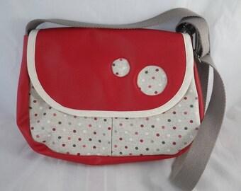 Sac025 - Satchel bag red and polka dots