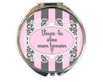 "Pocket mirror silver ""Will you be my best man?"", image 5cm diameter"