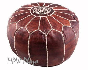 Sale- Chocolate Brown  Moroccan Leather Pouf / Ottoman