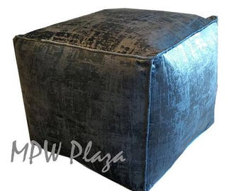 NEW COLLECTION-Velvet  Moroccan Pouf/Ottoman ( Sapphire Blue )