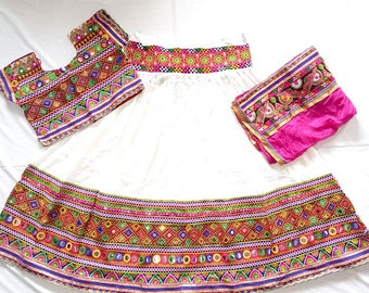 Navratri chaniya choli White and Multi colour with embroidery work Lehenga Choli by Indian Designer.