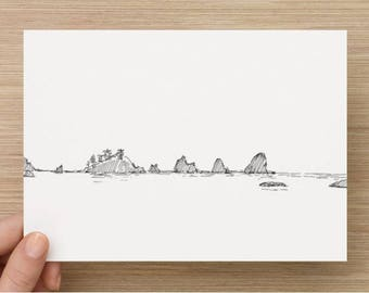 Ink Sketch of Seastacks near 3rd Beach in Olympic National Park