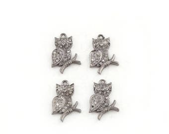 Fathers Day Sale MEMORIAL DAY SALE 2 Pcs Pave Diamond Owl 925 Sterling Silver Single Bail Pendant - Diamond Pendant 14mmx8mm Pdc901