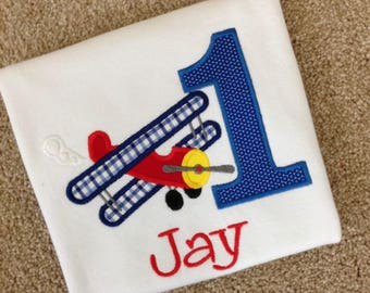Personalized Embroidered Airplane First Birthday Shirt Bi Plane 1st Birthday Shirt Tee.   Customizable for Any age - Boy or Girl