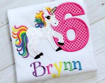 Unicorn 6th Birthday Shirt, Unicorn Birthday Shirt, Unicorn Rainbow Shirt, Unicorn Shirt, Any Age. Embroidered and Appliqued shirt  Emma Aly