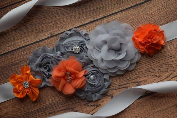 Flower Sash,  Grey orange Sash , flower Belt, maternity sash, wedding sash, maternity sash girl, flower girl sash, gray sash