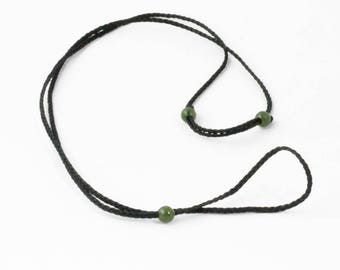 Thick Black Cord with Canadian Nephrite Jade Beads