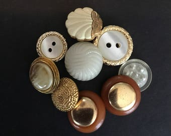Vintage Buttons - Gold and Ivory