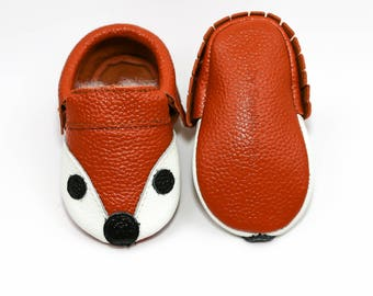 Baby Fox Moccasins, Baby FOX Fringe Moccasins, Baby Leather Shoes, Genuine Leather Moccs, Toddler Fox Moccasins, Baby Shower Gift