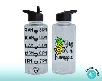 Pineapple bottle - Goal Bottle - large Water Bottle - Water Intake Tracker - Fineapple - large water bottle with straw - hourly water