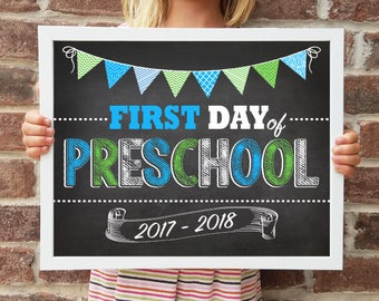 "Preschool, Back to School Poster, DIGITAL Printable File, FIRST Day & LAST Day includ. 4 Sizes: 8x10"", 11x14"", 16x20"", 20x30"" includ."