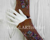 Felted ornate cuffs, eads and lace, wool on silk, nuno felt