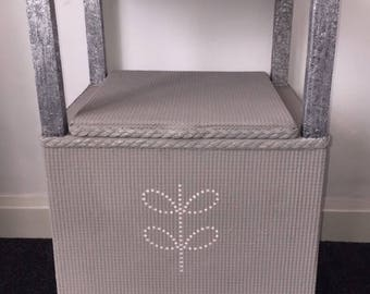 Lloyd Loom style unit with storage, french linen AS with stencilling
