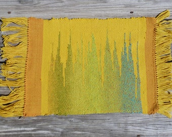 Handwoven Wool Wall Hanging - Yellow Spires - Ready for Framing