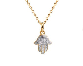ON SALE Diamond Hamsa Necklace