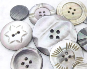 Lot Collection Vintage Carved Shell Mother of Pearl Buttons x 10 Buttons
