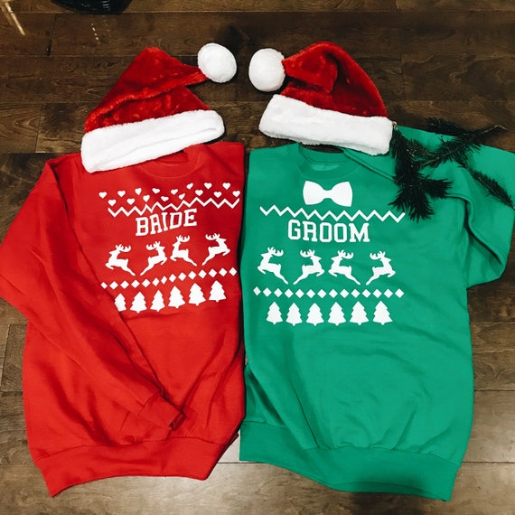 Custom Christmas Sweater | Ugly Christmas Seeater | Ugly Christmas Sweater  Bride and Groom | bride christmas sweater| groom christmas sweat
