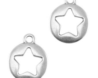 "DQ Metal pendant, charm ""Stern""-3 pcs.-12 x 10 mm-Zamak-color selectable (colour: silver)"