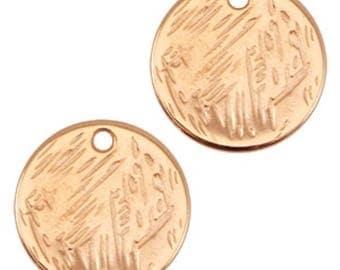 DQ Metal pendant round-Ø 15 MM-2 pcs.-Zamak-color selectable (color-gold)