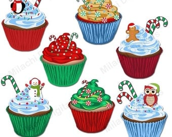 60% OFF SALE Christmas cupcakes clipart, holiday clipart, vector graphics, christmas clipart, digital clip art, commercial use - M440