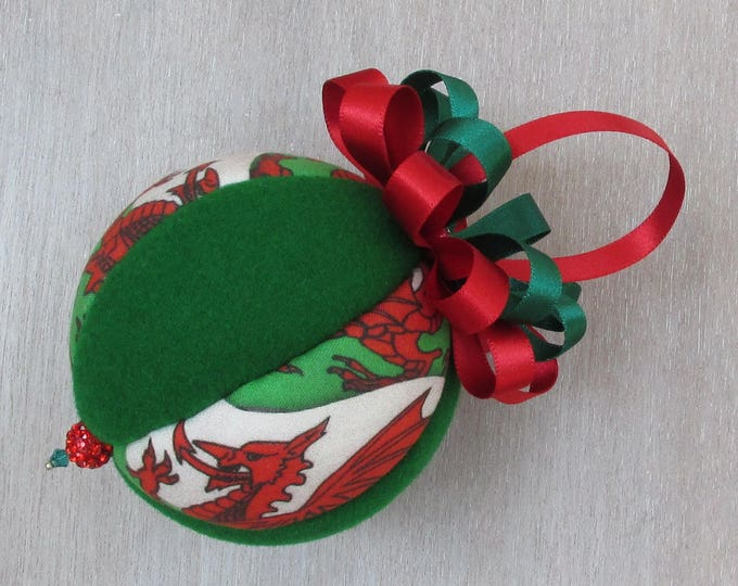 Welsh Dragon Red & Green Luxury Christmas Tree Bauble