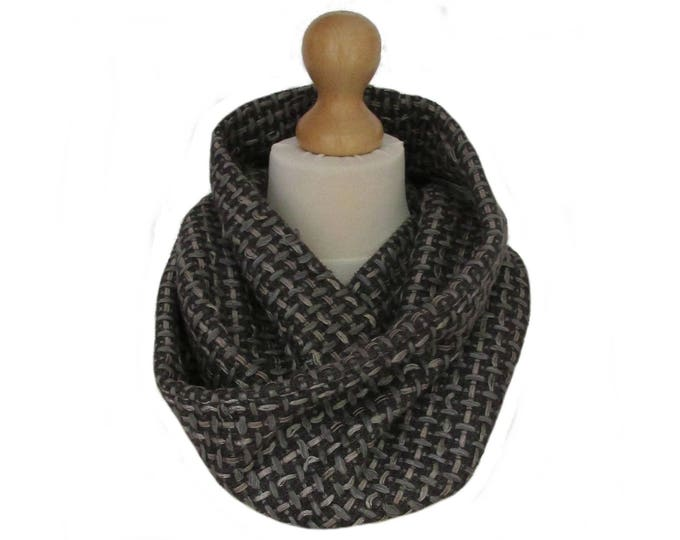 Linton Tweed Designer Cowl Neck Infinity Scarf in Shades of Grey & Taupe