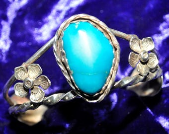 925 Sterling Bracelet with Sky Blue Turquoise - 0049