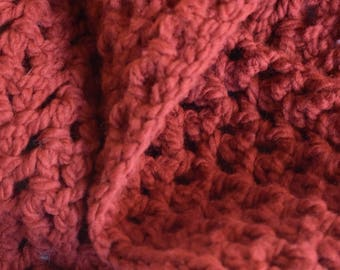 Rouge Crochet Infinity Scarf -- Cozy, Soft Deep Red Scarf
